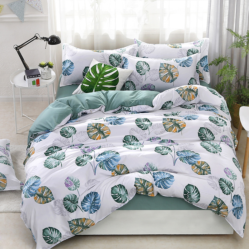 Denisroom Simple Bed Linens Green Banana Leaf Comforter Bedding Sets Duvet Cover Set Bedcover Bedspread AW51#