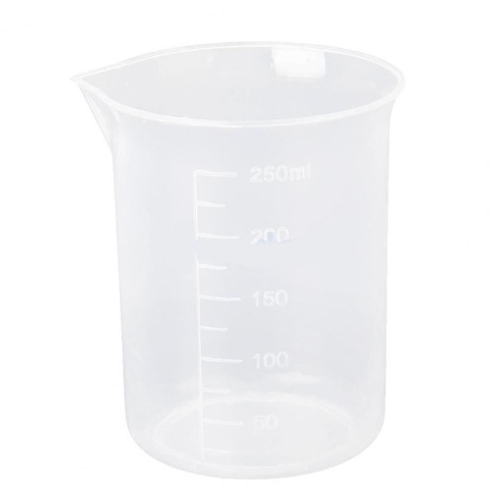 250ml Practical Laboratory Transparent Plastic Graduated Cylinder Measuring Cup Beaker High Temperature Orrosion Resistant Tools