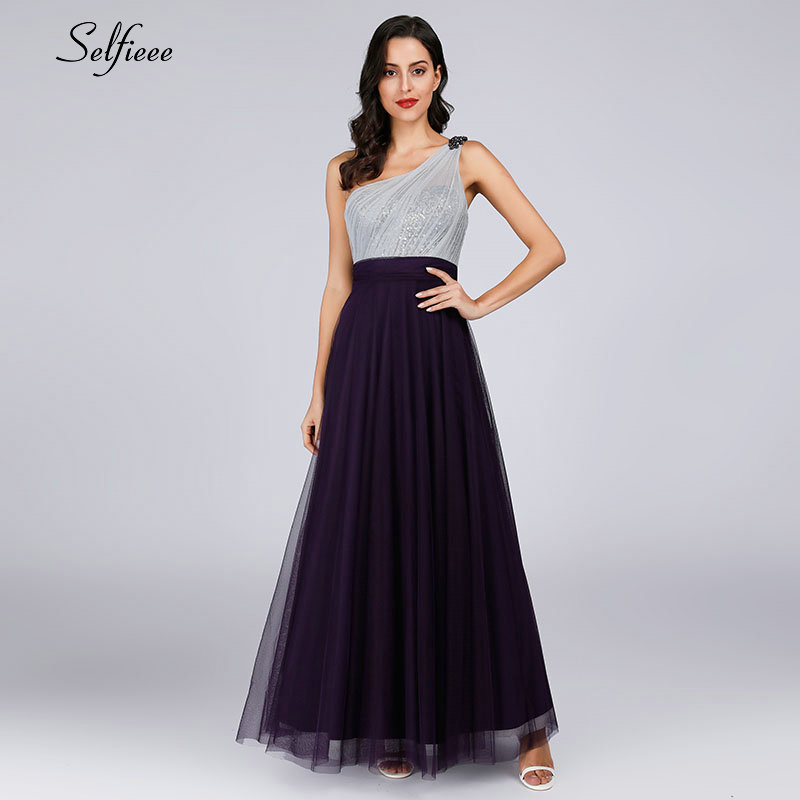 New Elegant Purple Women Summer Dress Robe Femme Sexy One Shoulder Backless Sequined Party Dress For Ladies Long Maxi Dress 2019