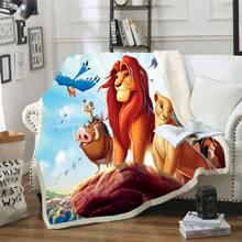 Leão rei simba 3d impresso cobertor sherpa thows capa de edredão viagem cama veludo plush throw velo cobertor colcha