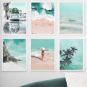 Sea Beach Girl Coconut Tree Nordic Canvas Posters And Prints Wall Art Print Canvas Painting Wall Pictures For Living Room Decor cactus coconut leaves quote wall art canvas painting nordic posters and prints landscape wall pictures for living room decor