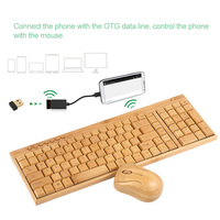 2.4G Wireless Natural Wooden PC Keyboard and Mouse Combo Computer Keyboard Handcrafted Bamboo Plug and Play Yellow