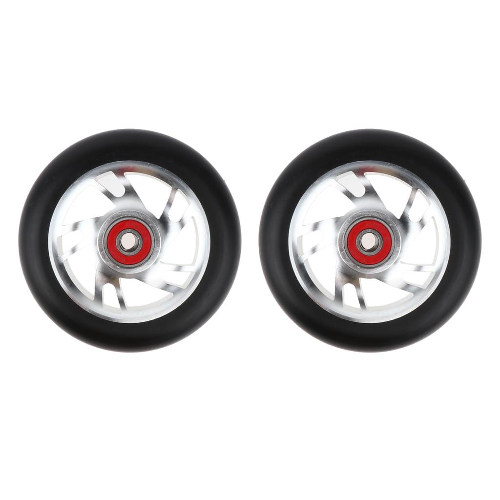 2pcs Replacement 100mm Push/Kick/Stunt Scooter Wheels with Bearings & Bushings