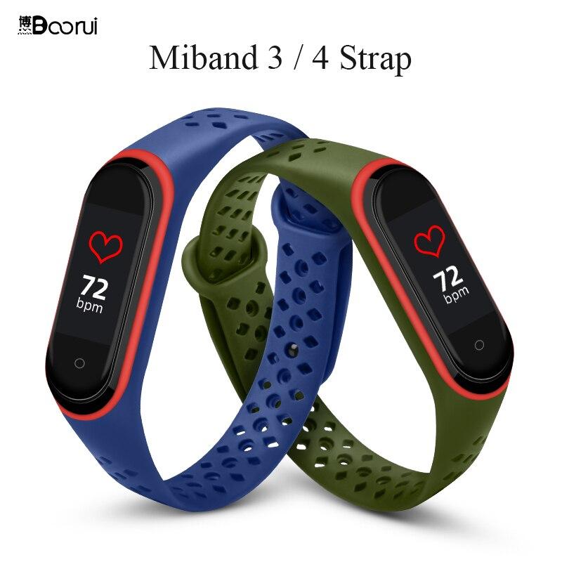 BOORUI Mi Band 4 Strap Breathable Silicone Pulsera Sports Wrist Strap For Xiaomi Miband 4 Mi Band 3 NFC Wrist Strap