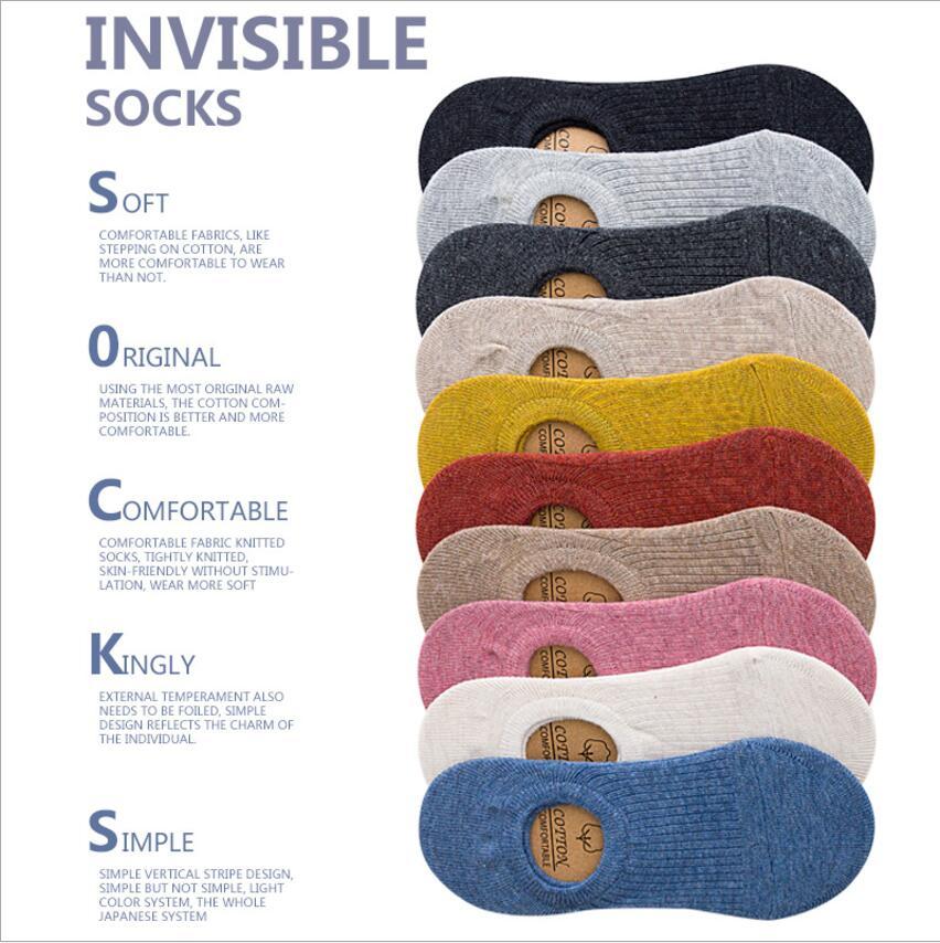 Женские носки ярких цветов, однотонные невидимые носки, хлопковые нескользящие женские носки с глубоким горлом