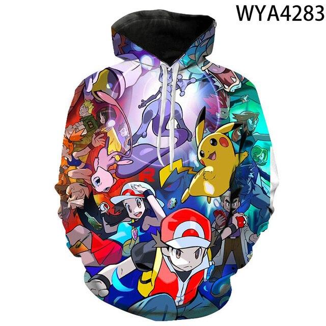 2020 new animated 3D printed hoodies men women children fashion hoodies pokemon boys girls kids sweatshirts street clothing 3