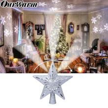 OurWarm 3D Glitter Star LED Christmas Tree Topper with Built-in Rotating White Snowflake Projector Laser Ornament