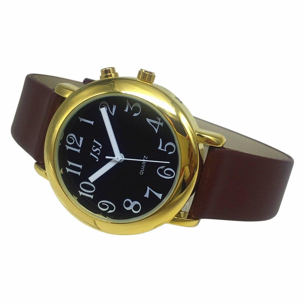 Французские говорящие часы с функцией будильника, говорящая Дата и время, черный циферблат, коричневый кожаный ремешок, золотой чехол TAF-606