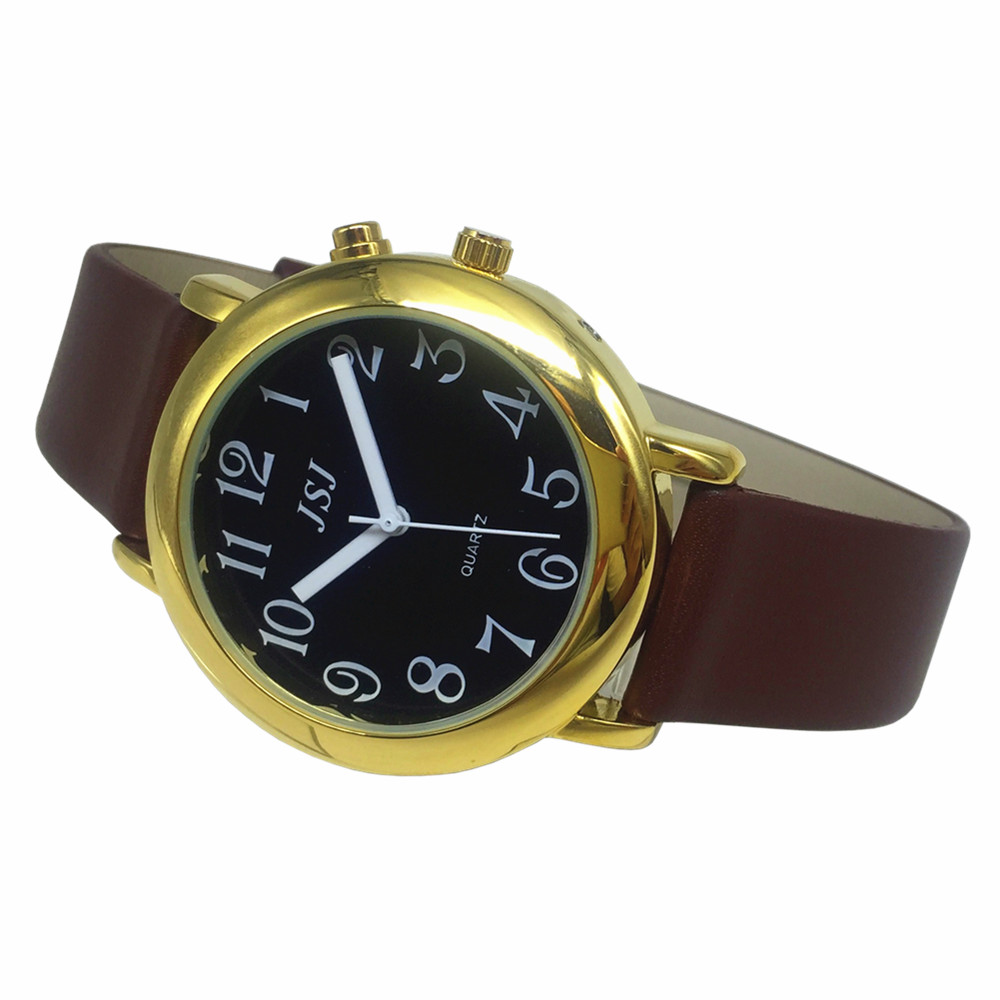 French Talking Watch With Alarm Function, Talking Date And Time, Black Dial, Brown Leather Band, Golden Case TAF-606