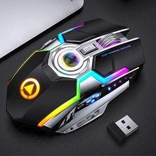 Souris de jeu sans fil Rechargeable, 1600 DPI, silencieuse, ergonomique, 7 touches, rétroéclairage LED RGB, 2.4G, USB, pour ordinateur portable