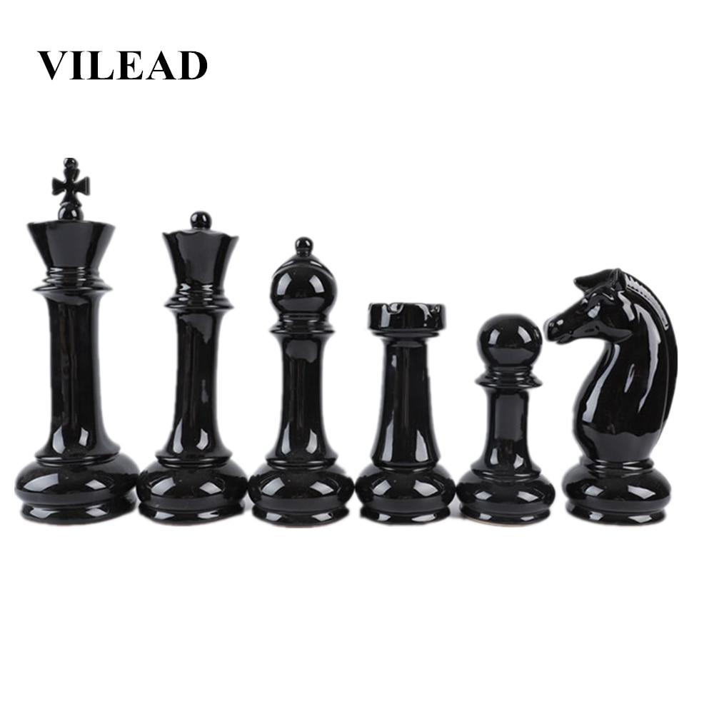 VILEAD Six-Piece Set Ceramic International Chess Figurines Creative European Craft Home Decoration Accessories Handmade Ornament