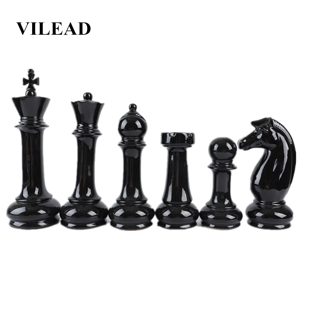 VILEAD Six Piece Set Ceramic International Chess Figurines Creative European Craft Home Decoration Accessories Handmade Ornament