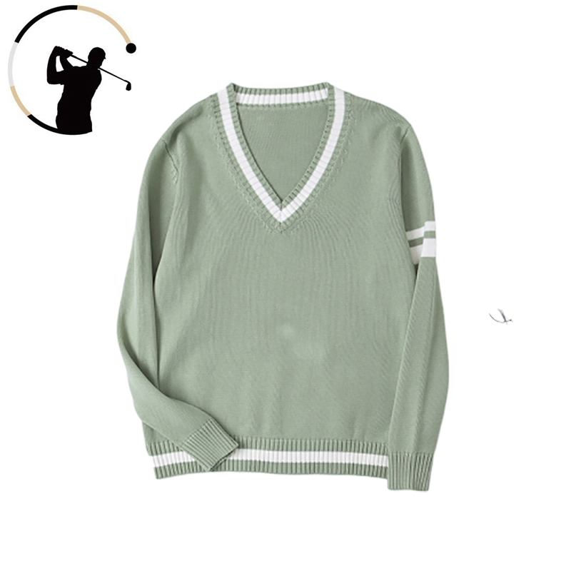 Golf Sweater Men Women Long Sleeve Knitted Pullover College Style Uniform Autumn Winter V-Neck Thickened Sweater Size XS-XL