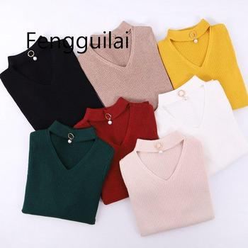 FENGGUILAI Fashion V-Neck Autumn Winter Pullover and Sweater Women Knitted Long Sleeves Sweater Thick Warm Femme Jumper sweater women autumn and cardigan women winter v neck knitted long sleeved slim fitting tight warm shirt pullover turtleneck