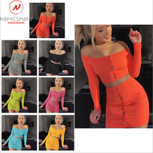 Streetwear 2 Piece Outfits for Women Button Decor Slash Neck Long Sleeve Solid Short Top+Elastic Hips Skirts Lady Slim Sets