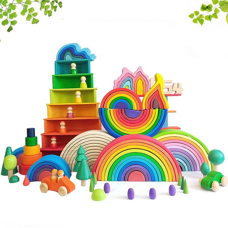 DIY 3D деревянные игрушки радужные строительные блоки Радужный штабелер большой размер креативные Монтессори Развивающие игрушки для детей