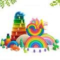 DIY 3D Holz Spielzeug Regenbogen Bausteine Regenbogen Stacker Große Größe Kreative Montessori Pädagogisches Spielzeug Für Kinder Kinder