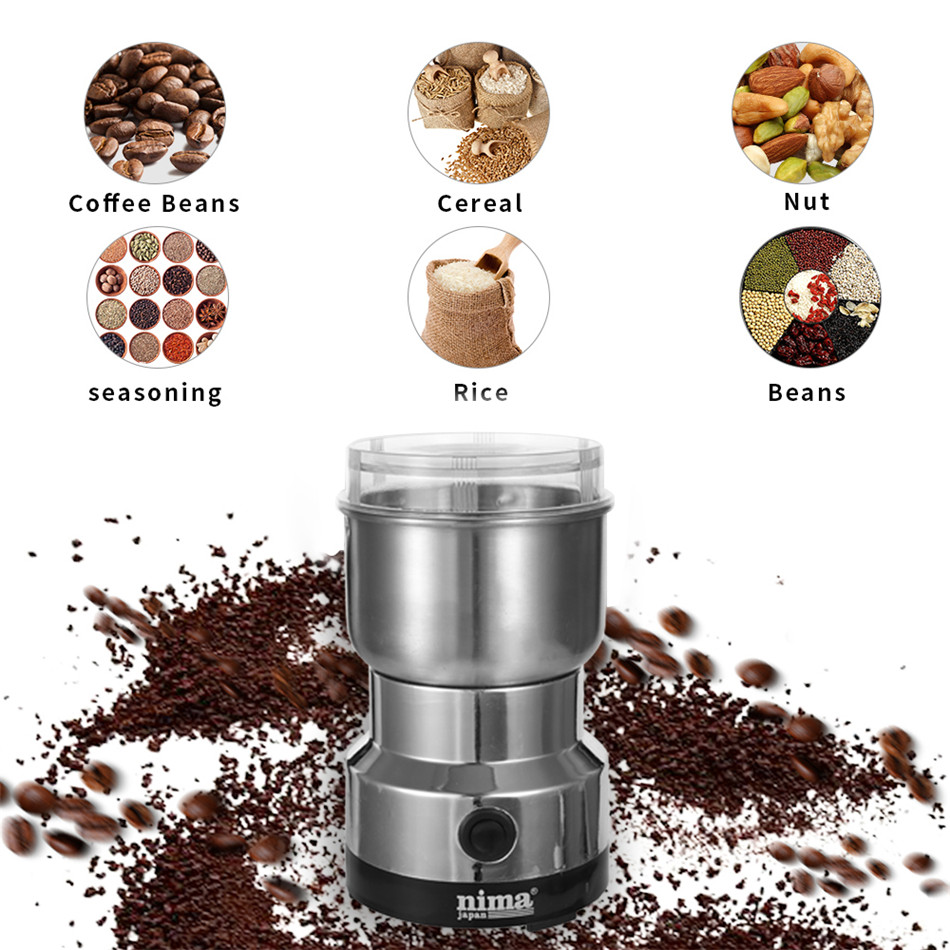 SEAAN Coffee Grinder Electric Mini Coffee Bean Nut Grinder Coffee Beans Multifunctional Home Coffe Machine Kitchen Tool EU Plug