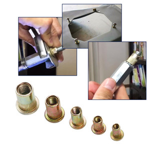 Image 4 - 100PCSเหล็กคาร์บอน/อลูมิเนียมRivet Nuts M3 M4 M5 M6 M8 Flat Head Rivet Nutsชุดใส่Rivetsหลายขนาด