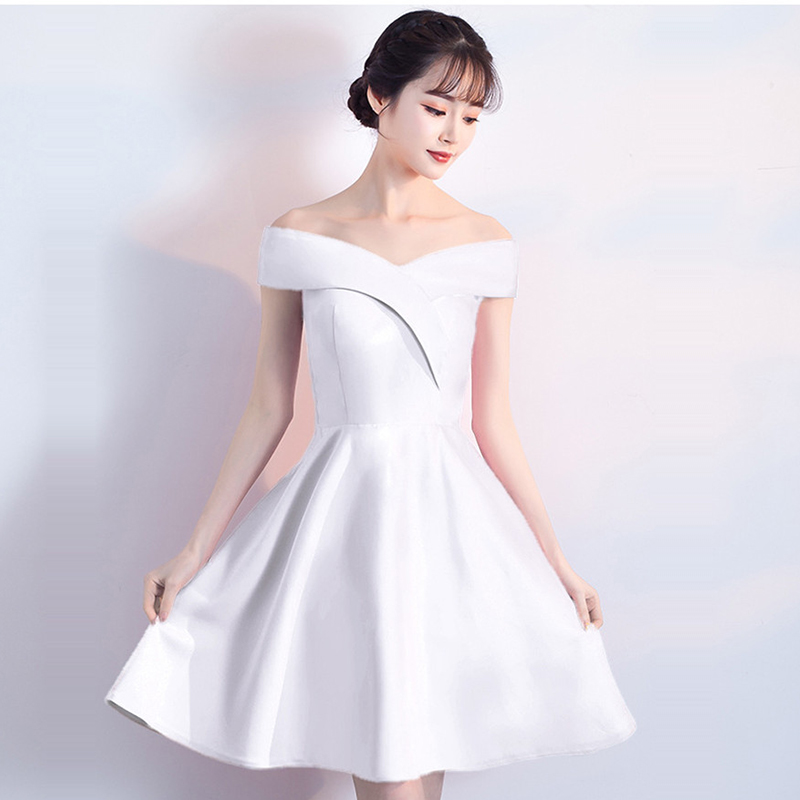 Skyyue 2019 Soild Off The Shoulder Evening Dress Robe De Soiree Boat Neck Short Sleeve Women Party Dresses Formal Gowns C150 in Evening Dresses from Weddings Events
