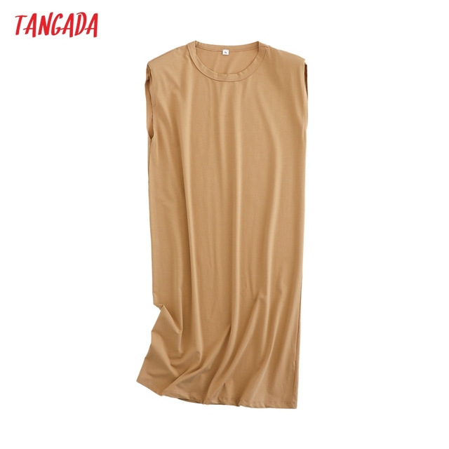 Tangada 2021 Women Elegant Shoulder Pads Knee Cotton Dress Summer Oversized Sleeveless Ladies Solid Dress 6L53 4