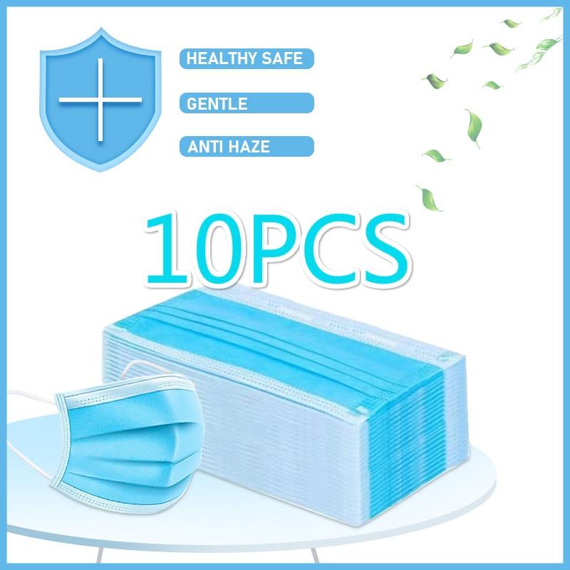10pcs Non-woven 3-layers Face Mouth Masks Non Woven Disposable Anti-Dust Meltblown Cloth Masks Mascarilla Mascarillas 30%
