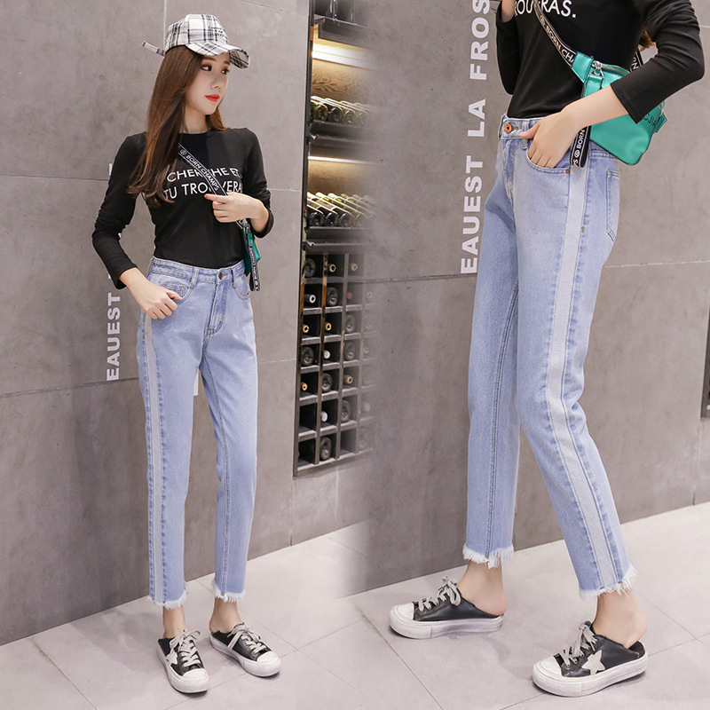 2019 Large Size Jeans Women's Large GIRL'S Spring Clothing New Style Fat Mm Loose-Fit Capri Pants A Generation Of Fat