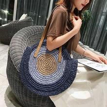 купить 2019 Round Straw Bags for Women Summer Rattan Bag Handmade Woven Beach Cross Body Bag Circle Bohemia Handbag Bali Bolso Paja по цене 1289.6 рублей