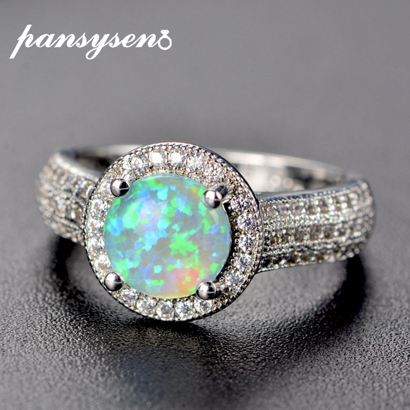 PANSYSEN Top Quality Genuine Fire Mystic Opal Ring 925 Sterling Silver Jewelry Rings For Women Wedding Brand Jewelry Wholesale