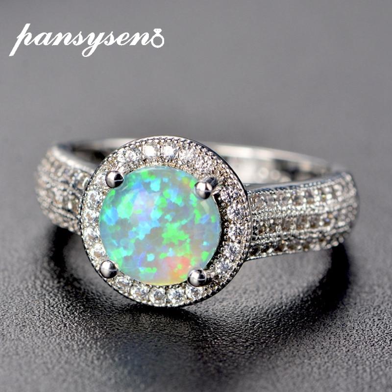 Pansysen qualidade superior genuíno fogo místico opala anel 925 prata esterlina jóias anéis para mulheres marca de casamento jóias atacado