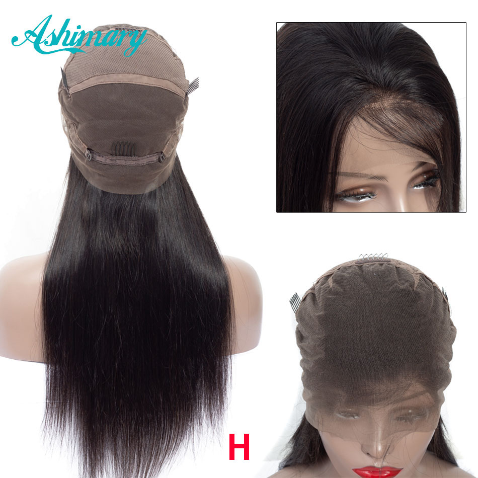 Ashimary Full Lace Human Hair Wigs Straight Hair Remy Brazilian Hair Full Lace Wig High Ratio 8''-24'' Natural Hairline