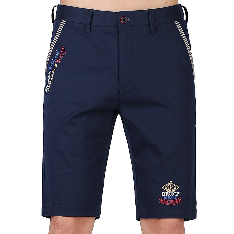 Bruce Shark Men's Summer Cotton Shorts Casual Shorts Men Travel Male Casual Short Men Solid Color Fifth Pants Shorts Plus size
