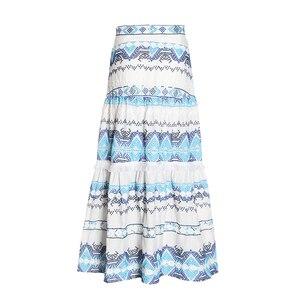 Image 3 - Женская юбка с кисточками TWOTWINSTYEL, винтажная Макси юбка с высокой талией, принтом и пуговицами на лето 2020