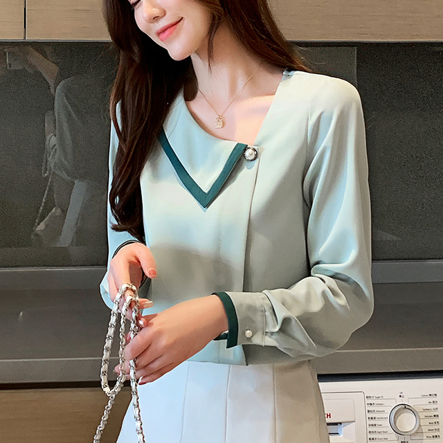 Korean women blouses shirts woman Long Sleeve shirts blouse office lady Chiffon Shirt tops plus size blusas mujer de moda 2020 1