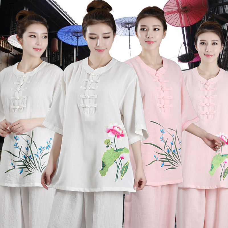 2019 Women's Tang Suit Jiu Jitsu Wushu Kung Fu Uniform Tai Chi Suit Chinese Style Embroidery Martial Arts Performance Suit