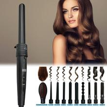 5 in 1 Curling Tongs Curl Iron Interchangeable Tourmaline Ceramic Barrels hair wand LCD Display Temperature Control