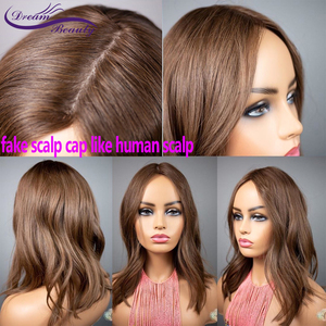 Fake Scalp Cap 13*6 Deep Part Lace Front Human Hair Wig Brazilian Remy Wavy Wig Light Chestnut Color Wig Preplucked Dream Beauty(China)
