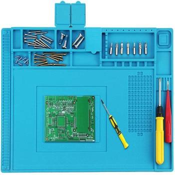 Heat Insulation Silicone Soldering Mat Anti-Static Resistant Work Repair Maintenance Platform Desk DIY Welding Pad