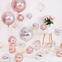 Balões redondos de alumínio, 5 pçs/lote 10 18 22 Polegada 4d balão de metal decoração de casamento festa de aniversário balão de hélio suprimentos
