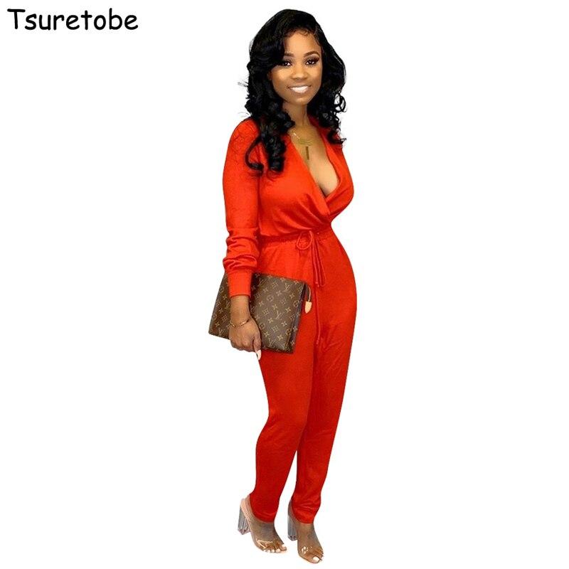 Tsuretobe Autumn Bandage Jumpsuit Deep V-Neck Women Elegant Long Sleeve Romper Casual Overalls Sashes Solid Color Outfits Female