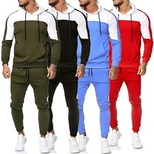 Men Spring Autumn Patchwork Long Sleeve Sweatshirt Tops long Pants Sets Sports Suit Tracksuit M0906