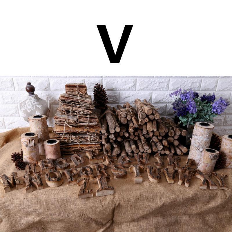 Вместе с коры твердой древесины Ретро Деревянный Английский алфавит номер для кафетерий украшение для дома, ресторана винтажная самодельная буква - Цвет: V