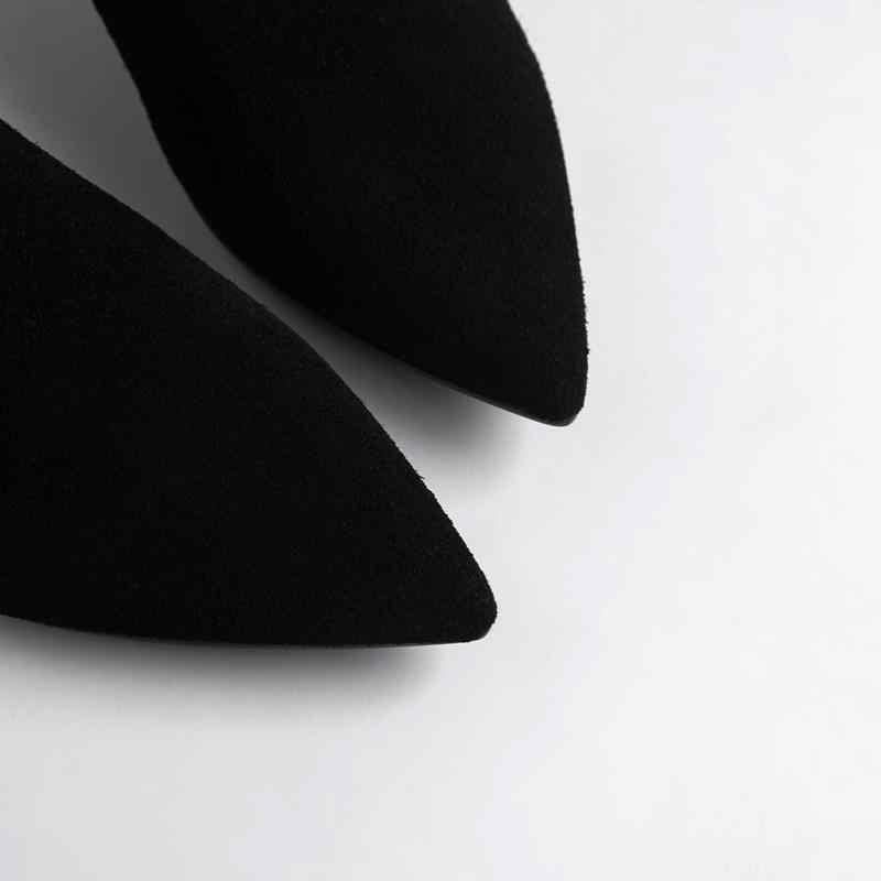 ALLBITEFO sıcak satış hakiki deri kadın botları rahat tarzı yarım çizmeler ince topuk kış kız rahat botlar eğlence