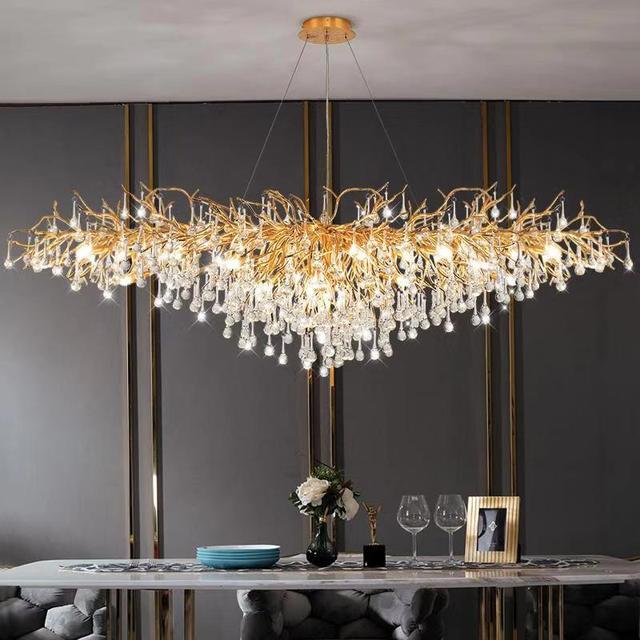 lustre de luxe pluie de cristal