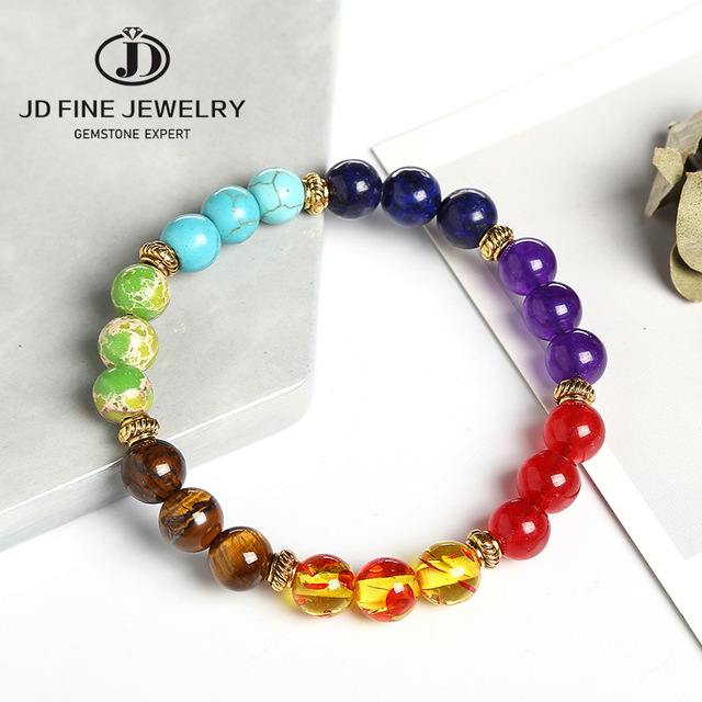 JD Fashion 7 Chakra Bracelet Men Black Lava Healing Balance Beads Reiki Buddha Prayer Natural Stone Yoga Bracelet Women Jewelry