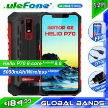 "Ulefone Armor 6E IP68 กันน้ำโทรศัพท์มือถือ Helio P70 4 GB + 64 GB 6.2 ""19:9 FHD + 5000 mAh Android 9.0 สมาร์ทโฟน NFC Face ปลดล็อค"