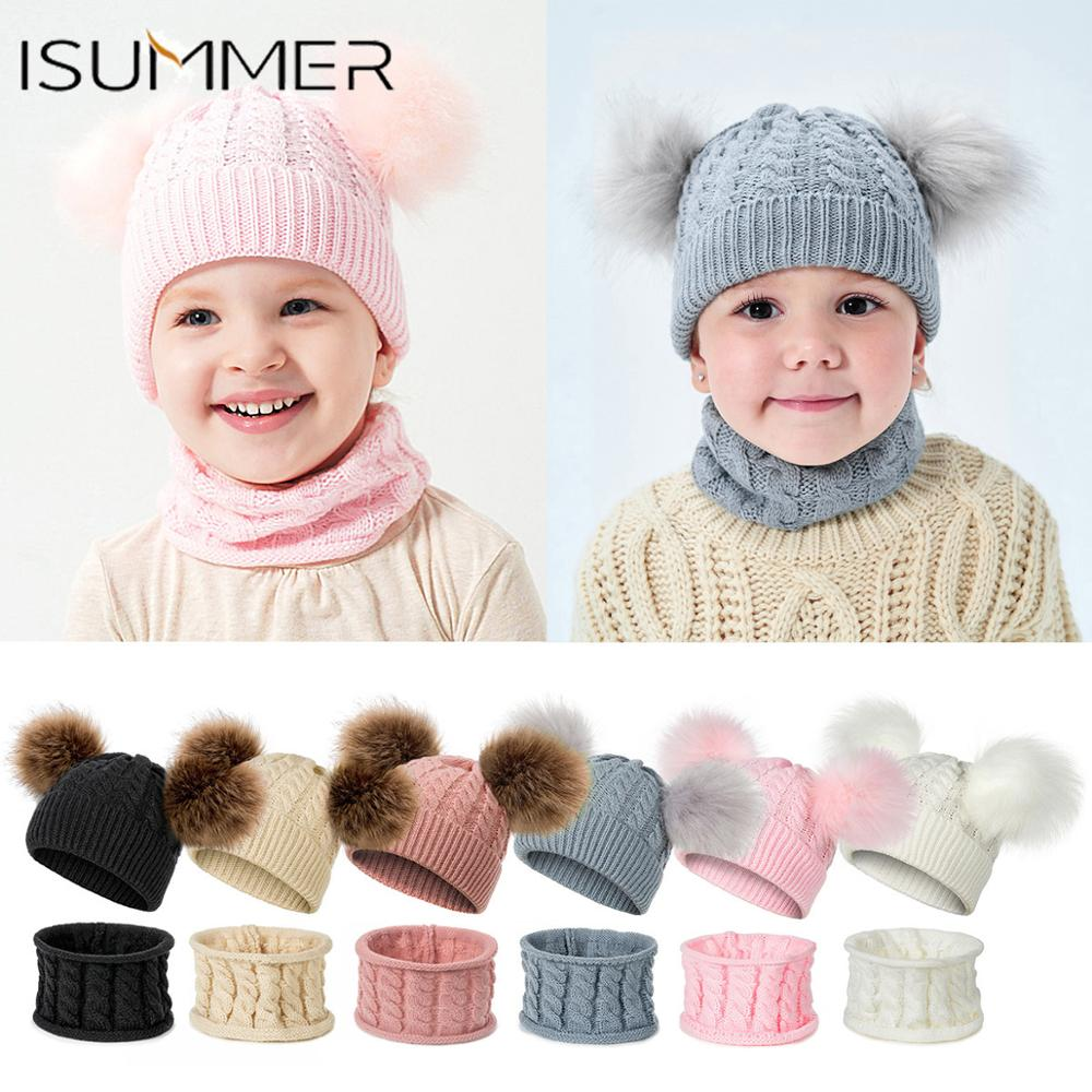 Hat-Sets Hats Scarves Beanie Children's-Set Knitted Girls Winter Boys Kids New Warm And