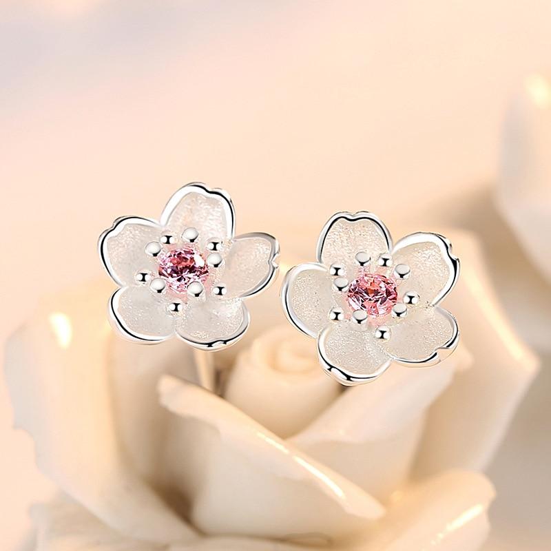 Silver 925 Jewelry Sterling Silver Earrings Cherry Blossom Inlaid Pink Zircon Ear Studs Simple and Popular Earrings for Women|Earrings|   - AliExpress