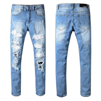 European embroidery skull pp casual slim elastic straight leg jeans fashion men's trousers with holes and diamonds