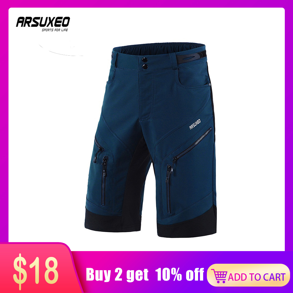 ARSUXEO 2019 Men Cycling Shorts Loose Fit Bike Shorts Outdoor Sport Shorts MTB Mountain Bicycle Short Pants Water Resistant 1903